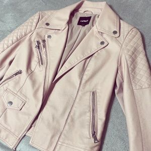 Express Faux Baby Pink Leather Jacket